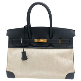 Hermès-Hermès brand Birkin handbags 35 cm H beige canvas and blue swift leather.-Blue