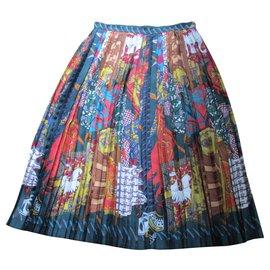 Hermès-HERMES, jupe soie, plissé soleil, 44.-Multicolore