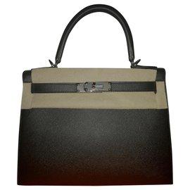 Hermès-Kelly 28 cuir Epsom noir special order-Noir