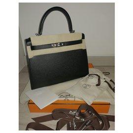Hermès-Kelly 28 Epsom leather black special order-Black