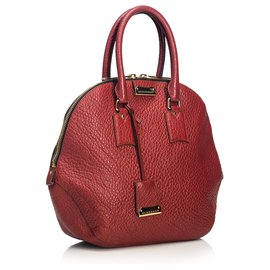 Burberry-Burberry Red Grained Leather Orchard Handbag-Red