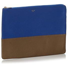 Céline-Celine Blue Bicolor Leather Clutch Bag-Brown,Blue,Dark brown