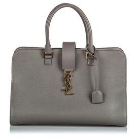 Yves Saint Laurent-YSL Gray Leather Monogram Cabas Satchel-Grey