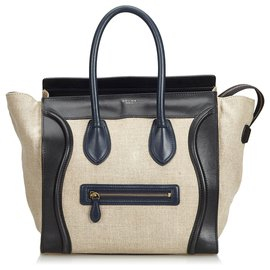 Céline-Celine Brown Leather Luggage Tote Bag-Brown,Black,Beige