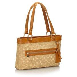 Louis Vuitton-Louis Vuitton Brown Monogram Mini Lin Lucille PM-Brown,Beige