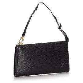Louis Vuitton-Louis Vuitton Black Epi Pochette Accessoires-Black