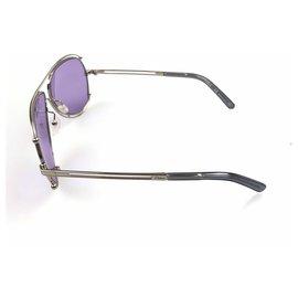 Chloé-Chloe Purple Round Metal Sunglases-Silvery,Purple