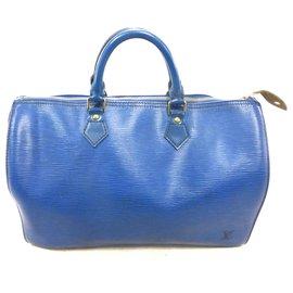 Louis Vuitton-Speedy 35 Blue epi leather-Blue