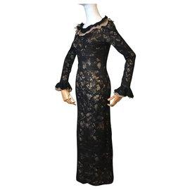 Chanel-Alpaca lace maxi dress-Black