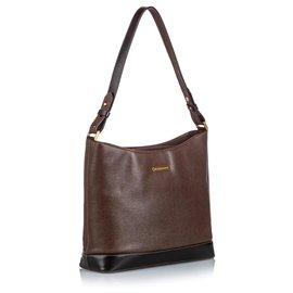 Burberry-Burberry Brown Leather Shoulder Bag-Brown,Dark brown