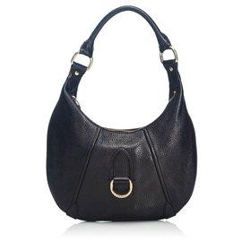 Burberry-Burberry Black Grained Leather Hobo Bag-Black