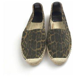 Yves Saint Laurent-YSL Brown Leopard Espadrilles-Brown,Black