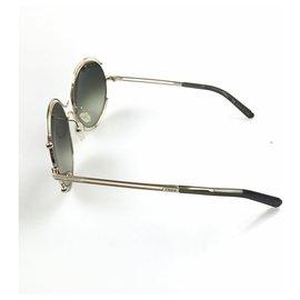 Chloé-Chloe Green Round Metal Sunglasses-Silvery,Green