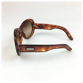 Chloé-Chloe Brown Round Enamel Sunglasses-Brown