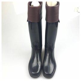 Céline-Bottes de pluie et de neige en caoutchouc noir Celine-Noir,Rouge