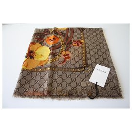 Gucci-gucci floral scarf. yellow/beige-Beige,Yellow