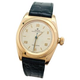 Rolex-Rolex bubble back yellow gold watch, cuir.-Other