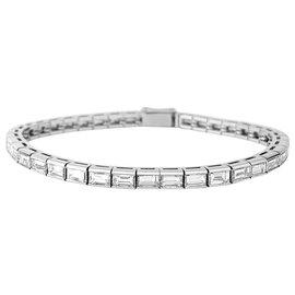 inconnue-Bracelet ligne diamants en platine.-Autre