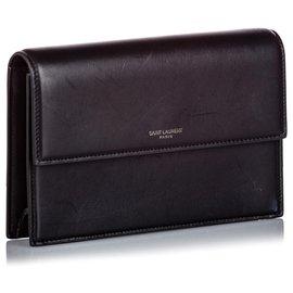 Yves Saint Laurent-YSL Black Leather Chain Clutch Bag-Black