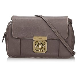 Chloé-Chloe Brown Mini Leather Elsie Crossbody Bag-Brown,Dark brown