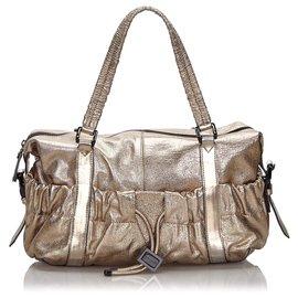Burberry-Burberry Gold Metallic Leather Shoulder Bag-Golden