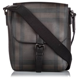 Burberry-Burberry Brown Plaid Coated Canvas Crossbody Bag-Brown