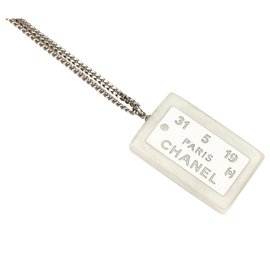 Chanel-Chanel White Metal Dog Tag Necklace-Silvery,White
