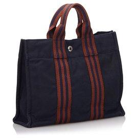 Hermès-Hermes Blue Fourre Tout PM-Brown,Blue,Navy blue