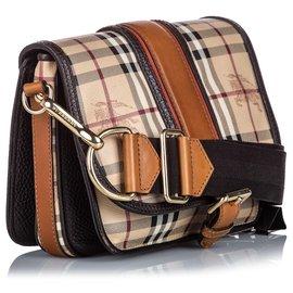 Burberry-Burberry Brown Haymarket Check Canvas Crossbody Bag-Brown,Multiple colors,Beige