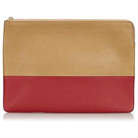Céline-Celine Brown Bicolor Leather Clutch Bag-Brown,Red,Light brown