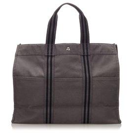Hermès-Hermes Gray cabas GM-Noir,Gris