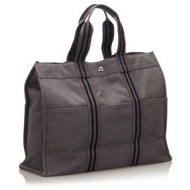 Hermès-Hermes Gray Fourre Tout GM-Black,Grey