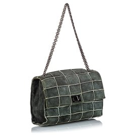 Chanel-Chanel Gray Reissue 225 Patchwork Flap Bag-Other,Grey