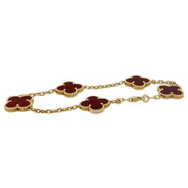 "Van Cleef & Arpels-Bracelet Van Cleef & Arpels modèle ""Vintage Alhambra"" en or jaune, cornalines.-Autre"