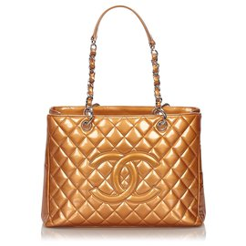 Chanel-Grand sac cabas en cuir verni marron Chanel-Marron,Marron clair