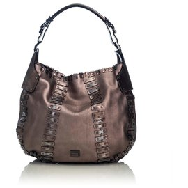 Burberry-Burberry Brown Embellished Leather Hobo Bag-Brown