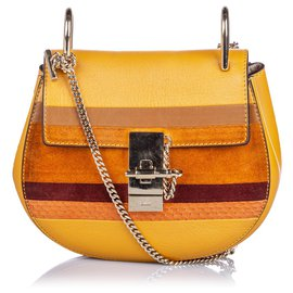 Chloé-Chloe Brown Patchwork Leather Drew Crossbody Bag-Brown