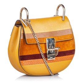 Chloé-Chloe Brown Patchwork Leather Drew Crossbody Bag-Brown