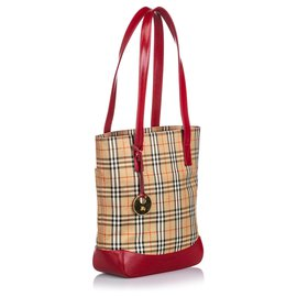 Burberry-Burberry Brown Haymarket Check Canvas Tote Bag-Brown,Multiple colors,Beige