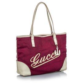 Gucci-Sac cabas en toile avec logo rouge Gucci-Blanc,Rouge
