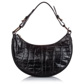 Mulberry-Mulberry Black Embossed Leather Shoulder Bag-Black