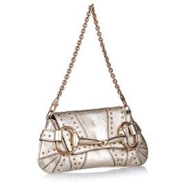 Gucci-Gucci - Pochette à chaîne en cuir avec mors cheval en métal doré-Doré