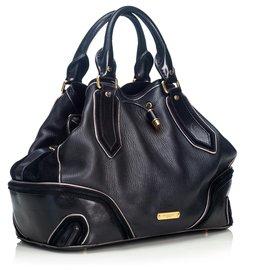 Burberry-Burberry Black Leather Drawstring Satchel-Black