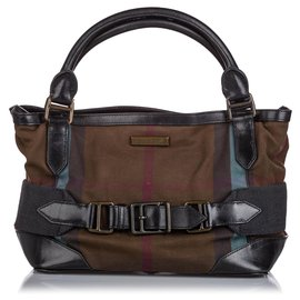 Burberry-Burberry Brown Smoke Check Canvas Handbag-Brown,Black