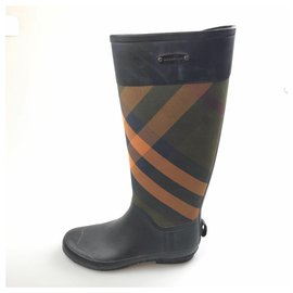 Burberry-Burberry Black Check Rain and Snow Boots-Black,Multiple colors