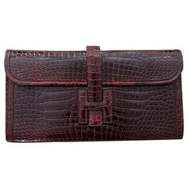 Hermès-Hermes Bordeaux Croc Jige clutch wallet bag-Dark red