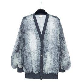 Hermès-GREY SILK FUR FR36/38-Gris