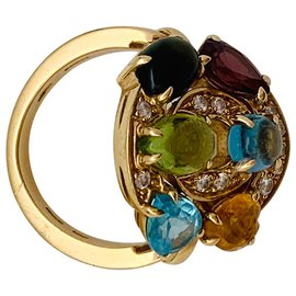 "Bulgari-Bague Bulgari ""Astrale"" or jaune, diamants et pierres de couleurs.-Autre"