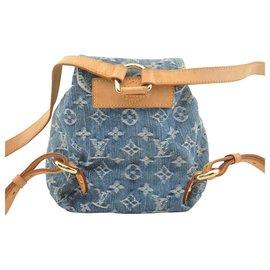 Louis Vuitton-Sac à dos Louis Vuitton en jean-Bleu