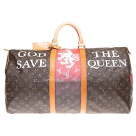 "Louis Vuitton-Louis Vuitton Keepall 55 Monogram ""God save the Queen"" customized by PatBo!-Brown"